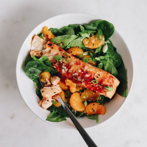 blue circle foods asian salmon spinach salad recipe