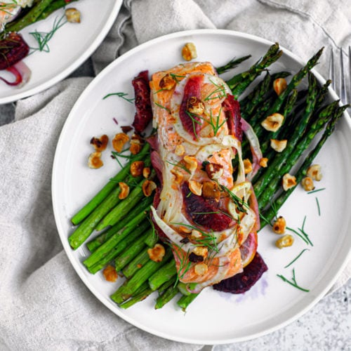 blue circle foods baked salmon in parchment recipe