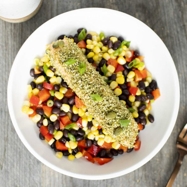 blue circle foods chef nora pumpkin seed crusted salmon recipe