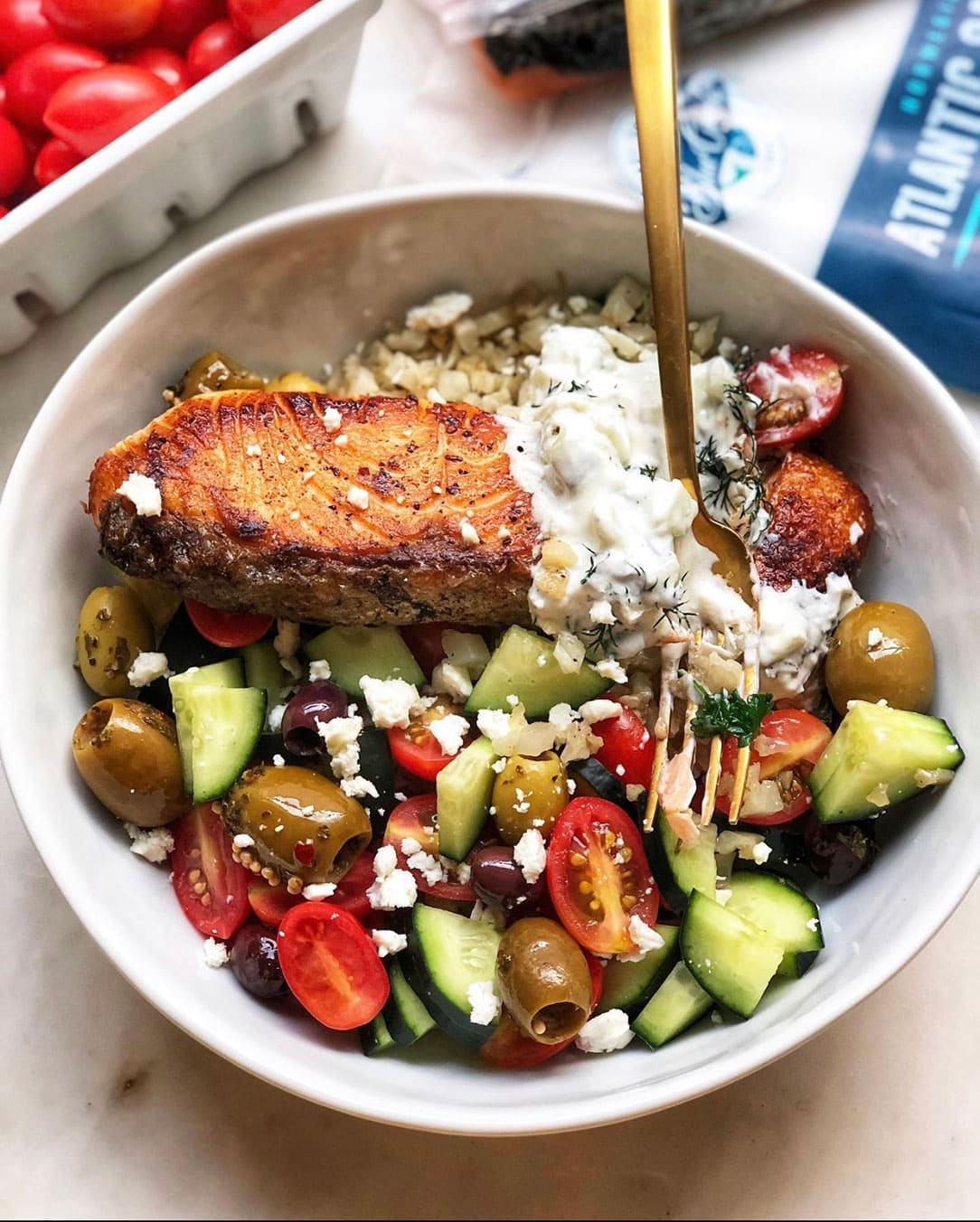blue circle foods greek salmon salad recipe