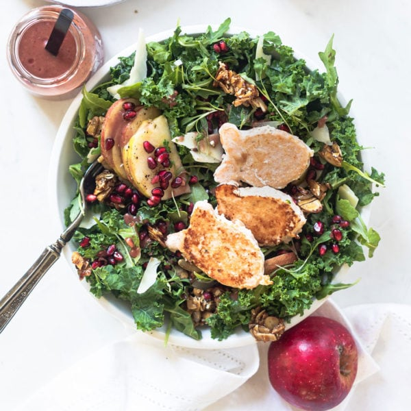blue circle foods harvest kale salad with happy fish recipe