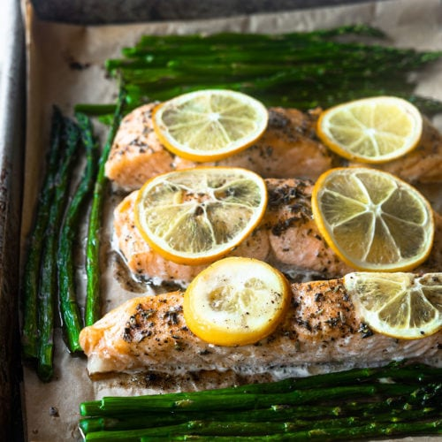 blue circle foods sheet pan salmon with asparagus recipe
