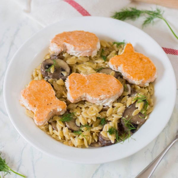 blue circle foods creamy orzo Happy Fish recipe