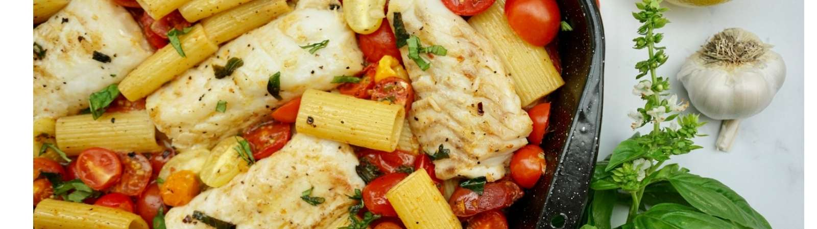 cod pasta with tomatoes and basil
